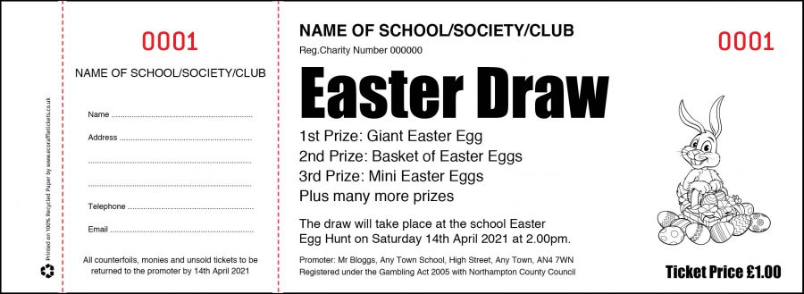 Easter Raffle Tickets for Schools and PTA